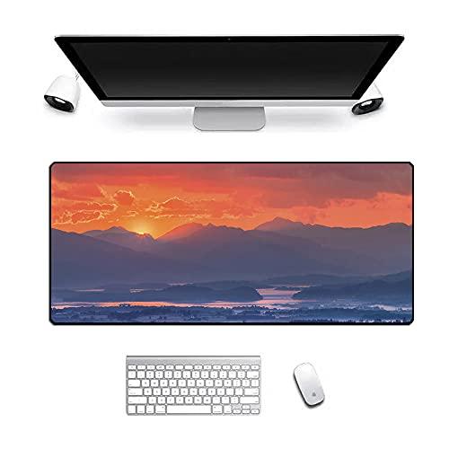 Alfombrilla de ratón con diseño de paisaje para juegos de sol, tamaño XL, antideslizante, mejora la precisión y velocidad para ordenador portátil, 600 x 300 x 3 mm
