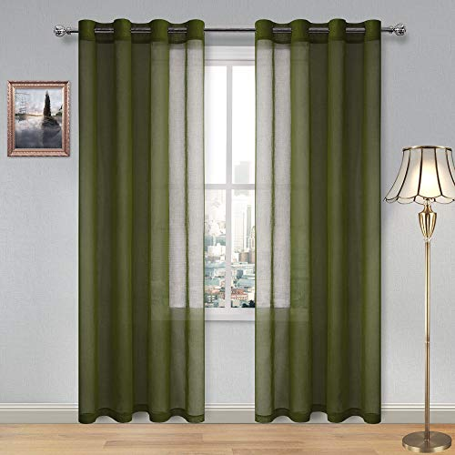 DWCN Olive Green Sheer Curtains for Living Room Bedroom Faux Linen Look Voile Drapes Grommet Top Window Curtain Panel 52 x 84 inches Long, Set of 2 Panels