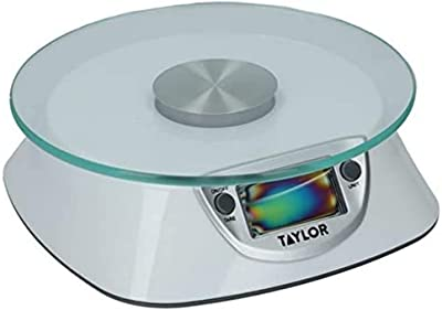 Taylor Digital Kitchen Scales with Glass Platform in Gift Box, Plastic/Glass, Silver, 5 kg/5000 ml Capacity