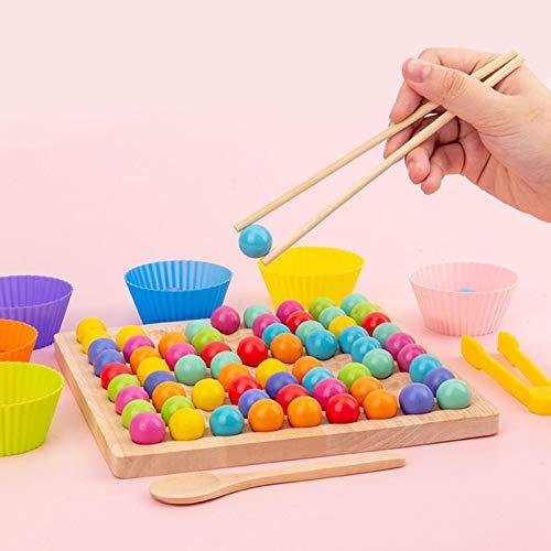 Ardorman Montessori - Juego de cuentas de madera con clip, juego de puzle de madera, juguete pedagógico, cuentas de madera con clip arcoíris
