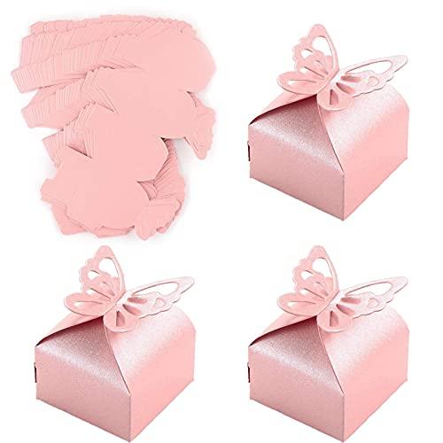 Boite Dragees Bapteme Fille Papillon, 50 Pièces Boîte à Dragées Rose, Boîte de Cadeaux en Papier Perlé, Boîte Cadeau Mariage pour Dragées, Bonbons, Confettis, Ou de Petits Cadeaux, 6 * 6 * 6 cm