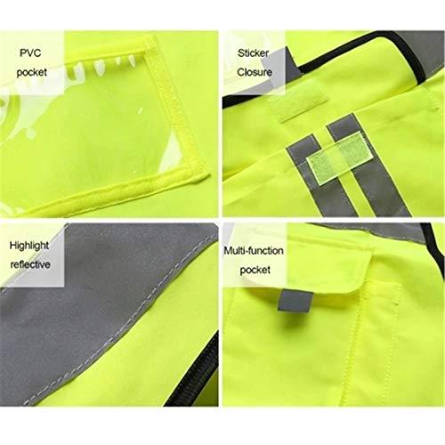 Yamyannie Kamizelki odblaskowe kamizelka bezpieczeństwa o wysokiej widoczności kamizelka bezpieczeństwa do budowy sanitacja pracownik drogi do biegania i jazdy na rowerze (kolor: fluorescencyjny żółty, rozmiar: mały)