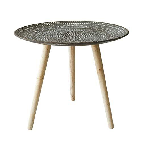Mesa de centro redonda/mesa auxiliar, patas de mesa de madera, textura en relieve, muebles de estilo rústico retro, apto para plantas en maceta, bebidas, cuencos de frutas