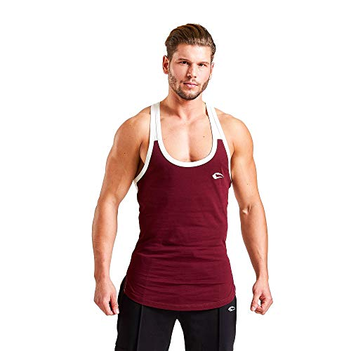 SMILODOX Herren Stringer 'Double'  Muskelshirt für Sport Fitness & Bodybuilding   Muscle Shirt - Stringer - Unterhemd - Achselshirt - Trainingshirt Kurzarm, Größe:XXXXL, Farbe:Bordeaux