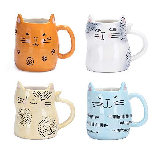 Bico Cartoon Cat Handcrafted Stoneware Ceramic 10oz Mugs, Set of 4, Assorted Color