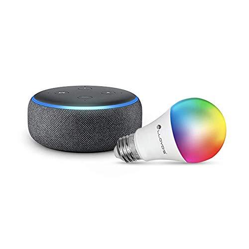 Echo Dot (3ra generación) con Lloyds Foco Inteligente WiFi, Multicolor + Luz Blanca Fría y Cálida, Negro