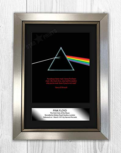 Engravia Digital Pink Floyd Dark Side of The Moon Poster Reproduction Photo A4 Print(Silver Frame)