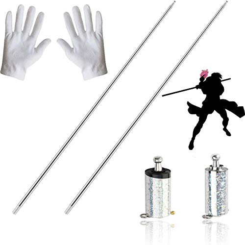 2 Pieces Pocket Staff, Retractable Collapsible Bo Staff, Metal Appearing Cane Magic Tricks for Professional Magician Stage Street Magic Performance, Magic Staff Pocket Mini Staff for Adults