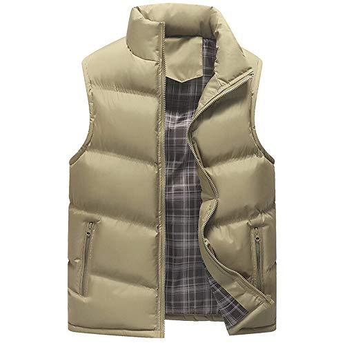 Balock Gilet Manteau sans Manche Homme Doudoune Sportif Veste Coton Hiver Casual Manteau Outdoor Fermeture Éclair Simple Mode Gilet Veste Top Manteau pour Hommes Taille M-4XL (L, Kaki)
