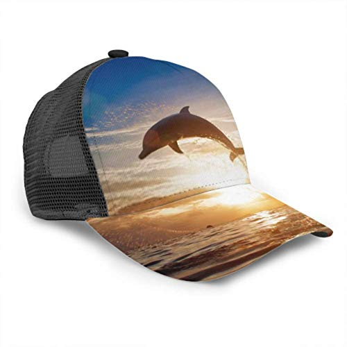 LINPM Baseballmütze Männer Frauen, schöne Delfine springen springen leuchtenden Sonnenuntergang verstellbare Trucker Mesh Sommer belüftete Baseball Sonnenmütze Hutkappe für Frauen