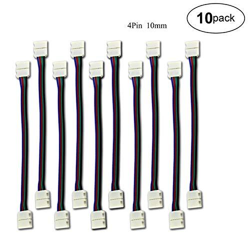 Stripe Verbinder Adapter DIY 4 Pins 10mm Schnellverbinder Nicht wasserfest Schneller Splitter 12V Clip für 5050 RGB 4 Leiter LED Strip Connector Led Streifenverbinder (10 Stück)