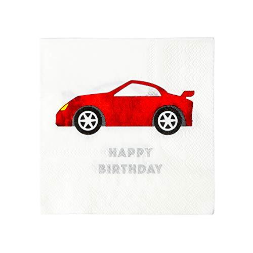 Pratende tafels Racing Car Papier Gelukkige Verjaardag Servetten Plezier Feestartikelen Voor Elke Leeftijd Pack van 16 25cm, Rood