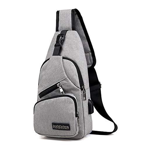 Schulterrucksack Rucksack Aidonger Canvas und Leder Brusttasche mit USB-Ladeanschluss (grau)