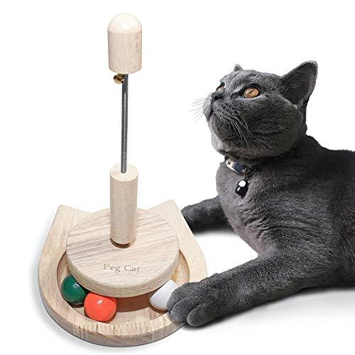 Wisedom猫おもちゃ回転ボール木製ベル安全素材ぐるぐる猫じゃらし知育玩具ナチュラル運動不足ストレス解消
