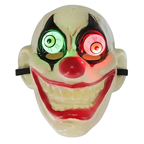 SUGOO Máscara de Halloween con LED realista globo ocular de payaso máscara...