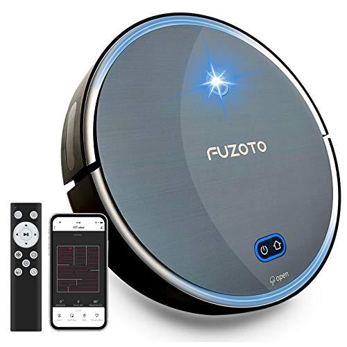 FUZOTO F8S Robot Aspirador, 1800Pa Succión Fuerte, Alexa & App Control, Carga Automática, Ideal para Pelo de Mascotas, Piso Duro, Alfombra, Negro