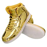 Gary Majdell Sport Men's Liquid Metallic Stylish Sneaker with High Top Lace-Up (Liquid Gold, 10)
