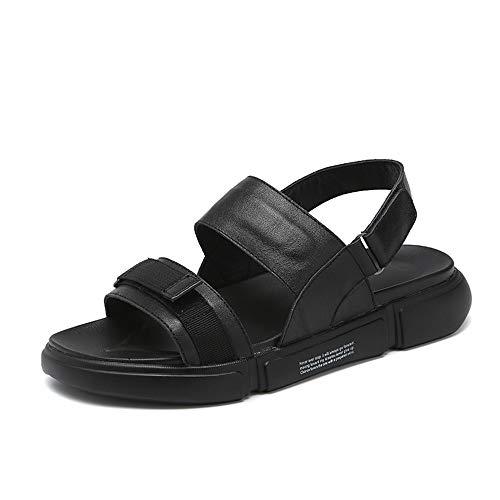 Sandalias de Verano para Hombre, 100 Unidades, de Piel, Antideslizantes y Resistentes al Desgaste, Color Negro, Talla 39 EU