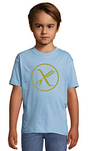 Atprints Say no to Gluten Gluten Free Symbol Artwork Heaven Blue Crew Neck Kids T-Shirt 84-94 (2 Year)