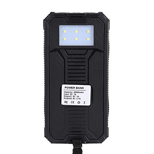 Fockety Batería Externa Cargador USB Dual Cargador de batería Solar Banco de energía, portátil para Viajes al Aire Libre, Senderismo y vocación(Black)