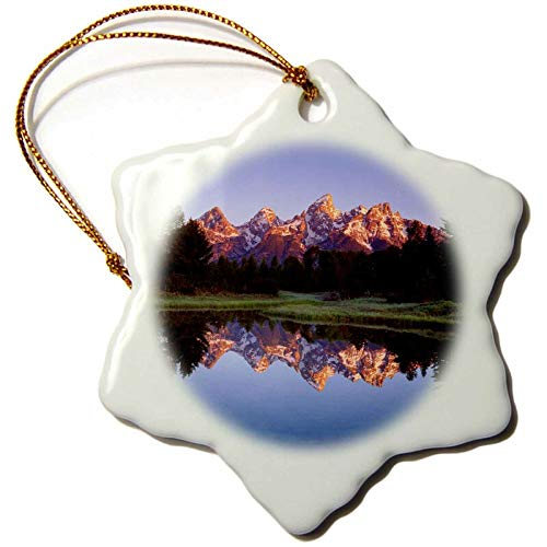 Lplpol USA, Wyoming, Grand Teton NP Reflect in The Snake River Snowflake Holiday Shaped Porcelain Ornament Christmas
