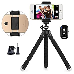 Phone tripod, UBeesize Portable and Adjustable Camera Stand Holder with Wireless Remote and Universal Clip, Compatible with iPhone, Android Phone, Sports Camera GoPro?2018 NEW VERSION?