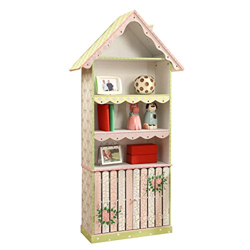 Fantasy Fields - Cracked Rose Thematic Kids Wooden Bookshelf with Storage , Imagination Inspiring with Roof and Rence details House Shape Bookcase, Lead Free Water-based Paint