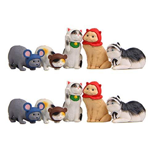 Exceart Dieren Beeldjes Tafel Centerpieces Diy Mini Katten Ornamenten Voor Home Decor 10St