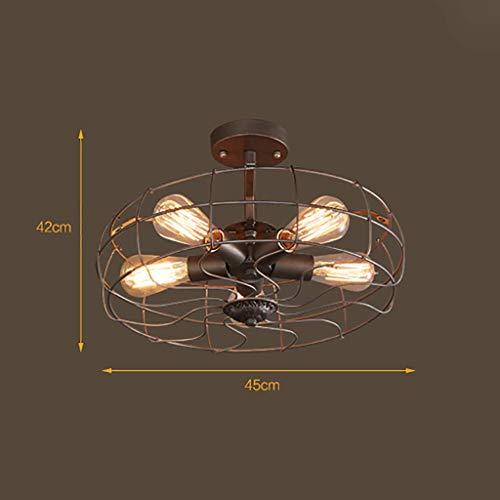 MKKM Lámparas de Techo Decorativas para el Hogar, Bar Restaurante Café Lámparas de Decoración para Clubes Nocturnos, Muebles para el Hogar Luz de Techo Estilo de Ventilador Retro Ironlectric Decoraci