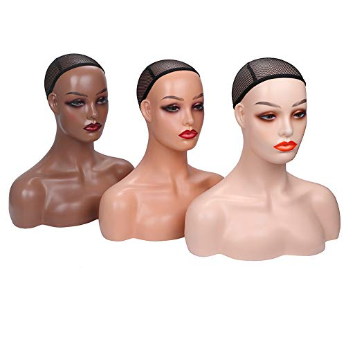 Realistic Female Mannequin Head with Shoulder for Display - Manikin Head with Shoulder for Wig/Jewelry/Makeup/Hat/Sunglass Display (Dark Brown)