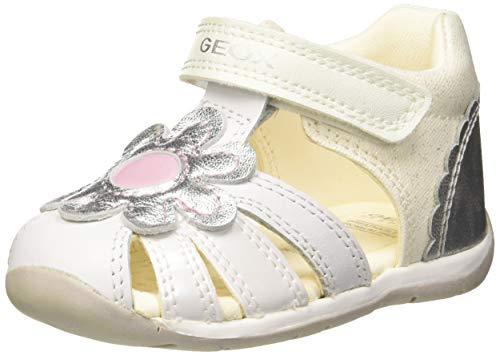 Geox Baby Mädchen B Each Girl a Sandalen, Weiß (White/Silver C0007), 23 EU