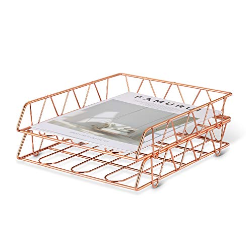 CAXXA 2 Pack Stackable Letter Tray, File, Document, Magazine Trays, Rose Gold