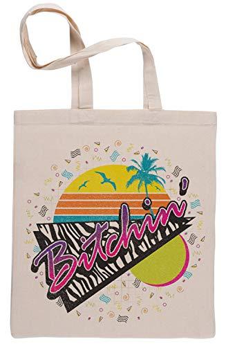 BITCHIN Wiederverwendbar Einkaufstasche Reusable Beige Shopping Bag