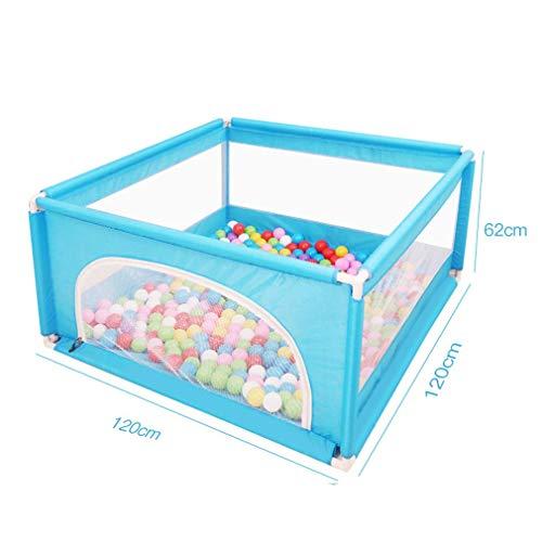 Tragbare Spielgeräte Laufgitter Baby Zaun Haushaltssplitterbeständiges Spielzeughaus Kindersicherheit Spielgeräte Krabbelmatte (Bälle nicht enthalten und Matten) Blau