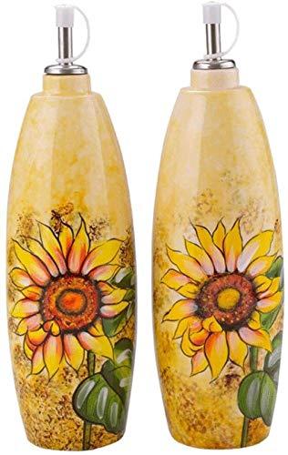 HAQTXI Botellas de Aceite de Aceite de Oliva Cerámica Vinagre de vinagre, A Prueba de Fugas Condimento Contenedor Pullo de Aceite Parrilla Salsa de Soja Pot 700ml 2pcs