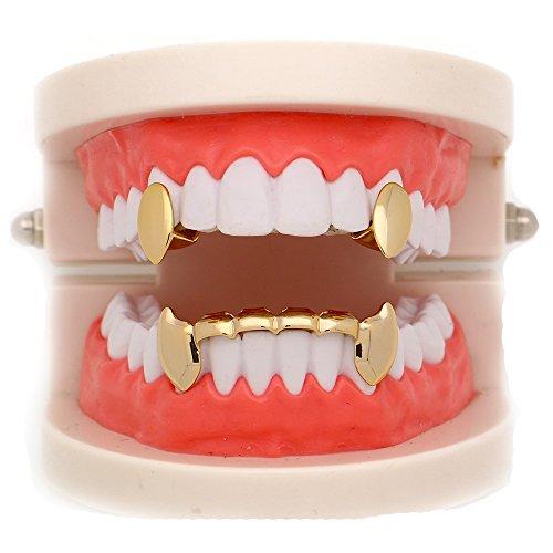 LuReen 14k Gold Vampire Dracula Teeth Grillz 2pc Single Fangs and 6 Bottom Grillz Set