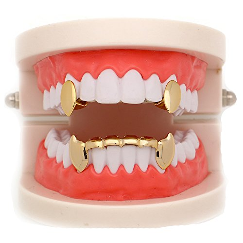 LuReen 14k Gold Vampire Dracula Teeth Grillz 2pc Single Fangs and 6 Bottom Grillz Set