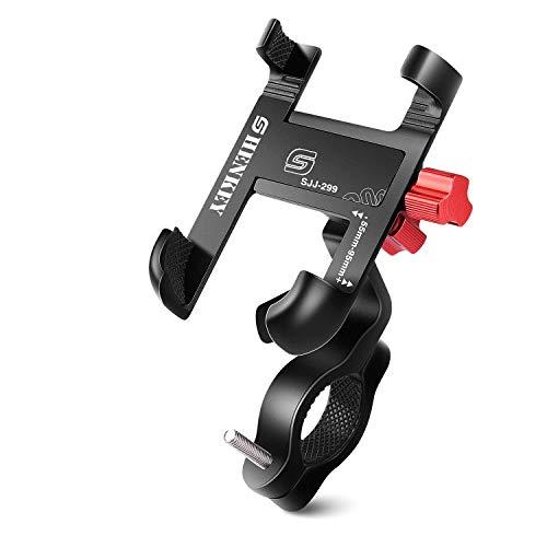 Soporte Movil Bicicleta y Moto, Soporte de Teléfono Celular de Aluminio de 360° para Motocicleta de Bicicleta Compatible con iPhone12 Mini,12 Pro, 11, X,8, 7, 6S, Samsung S10 S9 S8