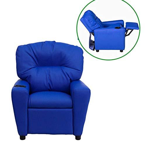 HUANXA Kind Fernsehsessel, Leder Kindersofa Lehrstuhl 130Abschluss Einstellbar Kind Sessel Mit Pedal Freizeitsitz-Blaue PU