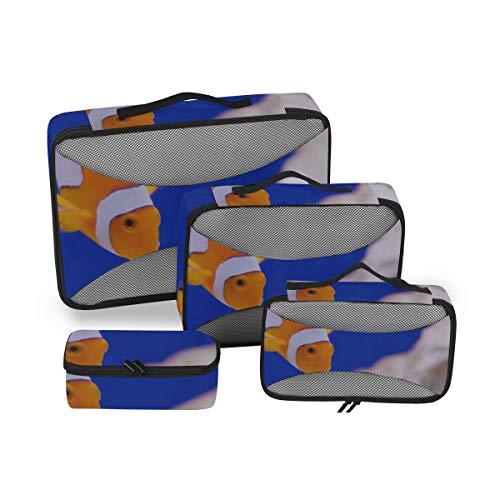 Packen Sie weiter Würfel Anemone Tier Aquarium Clown Fisch Marine Ocean Organisation Würfel Travel Cube Packing Organizer 4-teiliger Koffer Organizer Leichte Gepäckaufbewahrungstasche