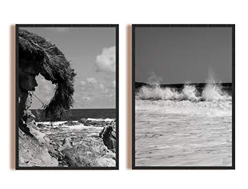 LOOPFLOW® Premium Cape Breton Poster Set D | 2 x Schwarz Weiß DIN A3 Kanadische Natur Deko Bilder | Ideal für Wohnzimmer, Schlafzimmer, Küche, Foyer, Büro | Lieferung *OHNE* Bilderrahmen