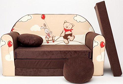 K26 Kindersofa Ausklappbar Schlafsofa Couch Sofa Minicouch 3 in 1 Baby Set + Kindersessel und Sitzkissen + Matratze