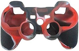 OSTENT Capa de silicone camuflada compatível com controle sem fio Sony PS2/3 – Cor vermelha