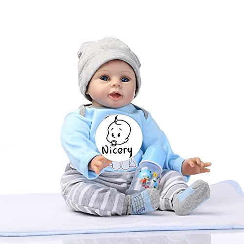 Nicery Poupée en Vinyle souple en silicone Reborn bébé 22inch 55cm Magnétique Bouche Lifelike Garçon Jouet Fille Bleu Chien Baby Doll A3FR