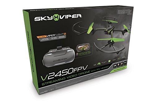 Goliath 90294 - Sky Viper Streaming Drohne mit FPV Brille, Quadrocopter mit 720p HD Kamera, Automatische Start-, Lande- und Schwebefunktion, 2,4 GHz