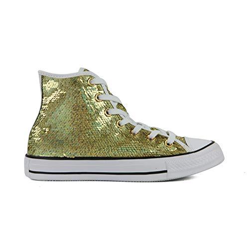 Converse Chuck Taylor All Star High Classic CTAS Hi Unisex Canvas Sneaker mit 7kmh Aufkleber Gold 3106 36