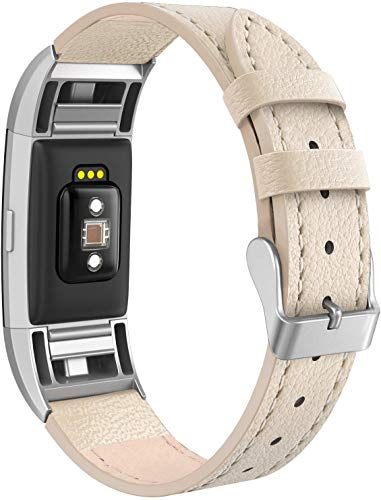 SWEES Bands Compatible for Fitbit Charge 2 Leather Small (5.6 - 7.5), Genuine Leather Replacement Wristband Metal Connectors Women, Black, Beige, Brown, Grey, Rose Gold, Blue