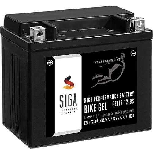 SIGA Gel Motorradbatterie 12V 12Ah 250A/EN Gel Batterie YTX12-BS GEL12-12-BS YTX12-4 GTX12-BS ETX-12-BS 51012