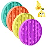 4Pcs Push pop Bubble Sensory Fidget Toy, Autism Special Needs Stress Reliever Silicone Games Tools for Kids Adults(Circle, 4Colors)