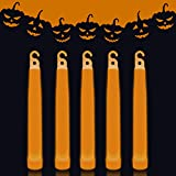 Lumistick 6 Inch Premium Glow Sticks | 15mm Thick Flat Bottom Illuminating Glowing Sticks | Waterproof & Non-Toxic Light Up Neon Sticks with Hook for Camping & Hiking (25 Glow Sticks, Orange)
